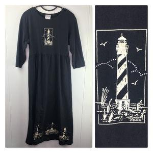 100% Cotton Black Lighthouse Tie-back Maxi Dress
